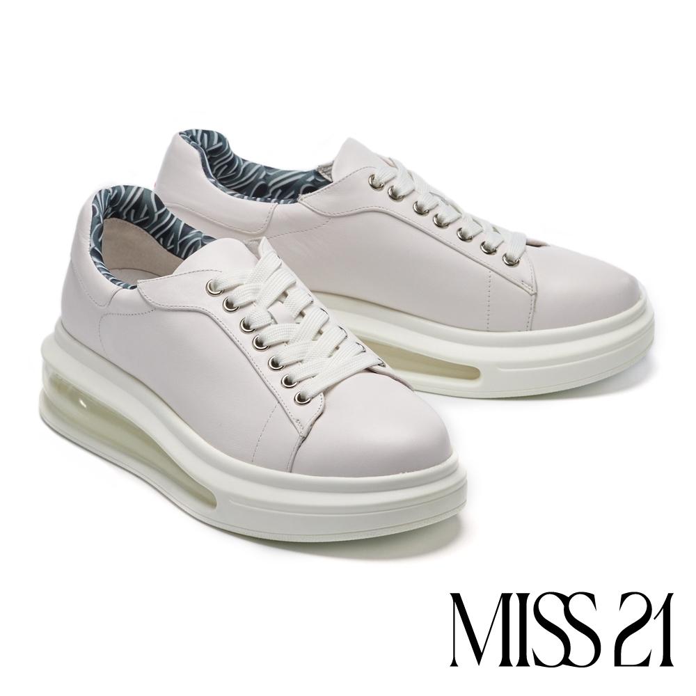 休閒鞋 MISS 21 太空潮感氣墊牛皮綁帶厚底休閒鞋-白