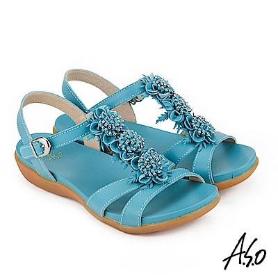 A.S.O 希臘渡假 全真皮牛皮立體花卉休閒涼鞋 藍