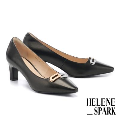 高跟鞋 HELENE SPARK 都會時尚雙色金屬釦小方楦高跟鞋-黑