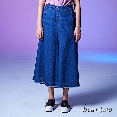 beartwo 經典時尚丹寧九分寬褲(中藍色)