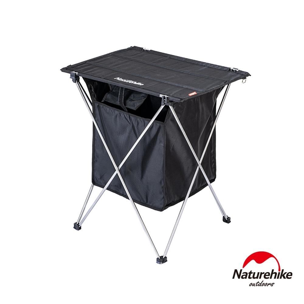 Naturehike 戶外便攜鋁合金桌面置物兩用折疊桌 附收納袋 黑色-急