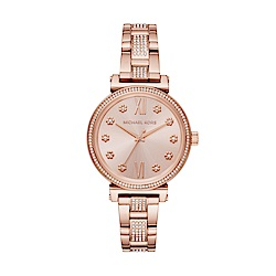 MICHAEL KORS小花朵玫瑰金腕錶/MK3882