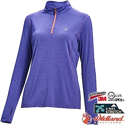 Wildland 荒野 0A71653-29紫羅蘭 女彈性抗UV拉鍊長袖上衣