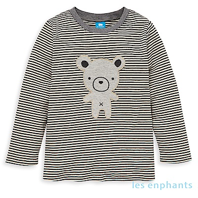les enphants baby有機動物園小熊條紋上衣(黑色)