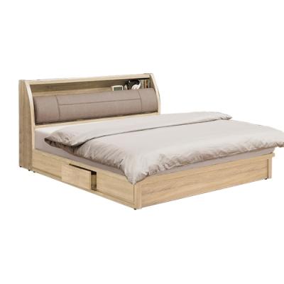 柏蒂家居-瑞莎5尺雙人床組(床頭箱+抽屜床底/不含床墊)