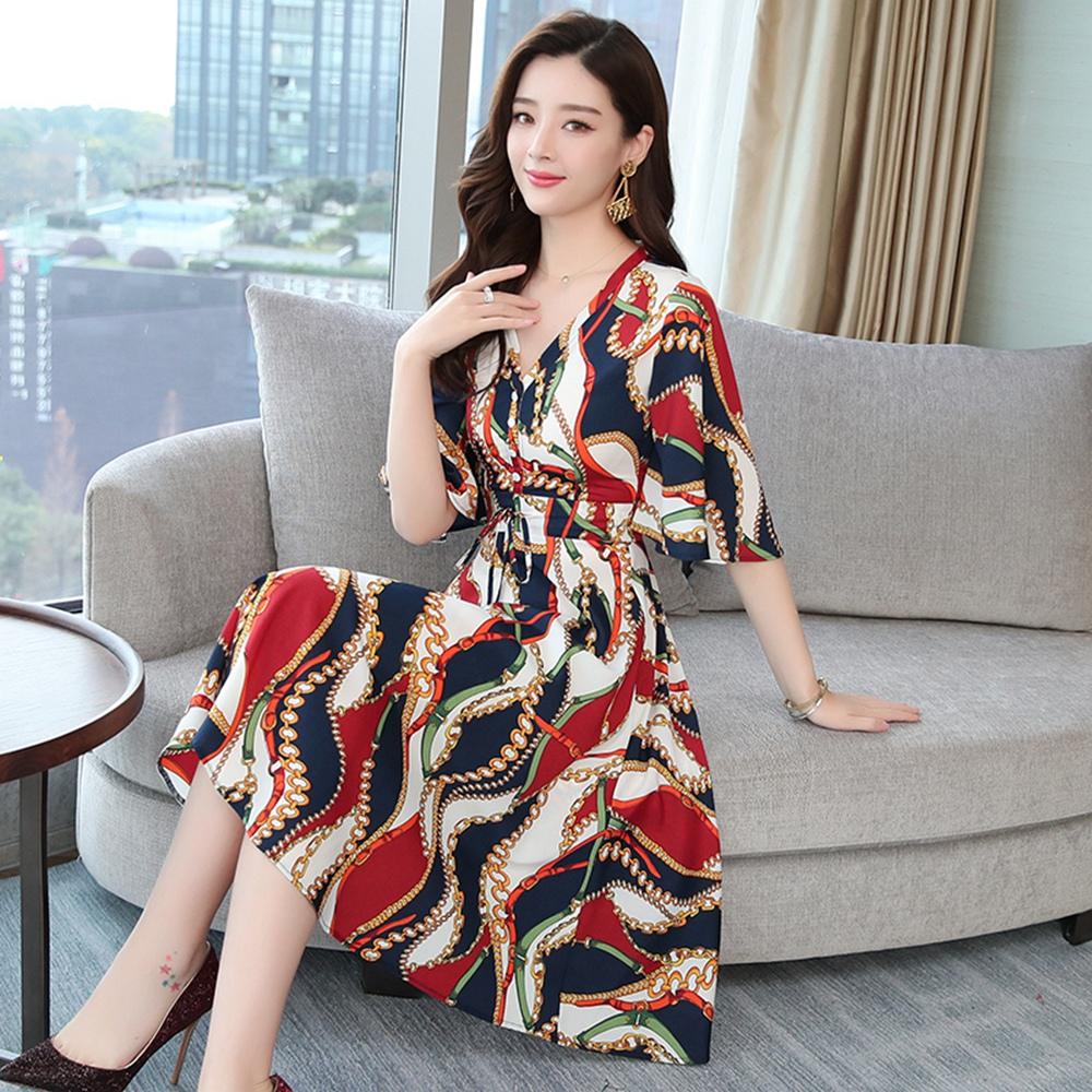 浪漫印花V領大圓裙洋裝M-4XL-M2M