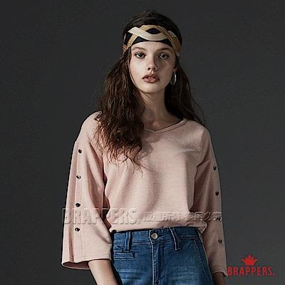 BRAPPERS 女款 V領金屬飾釦針織七分袖上衣-粉