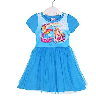 芭比短袖蕾絲連身裙 藍 k50389 魔法Baby