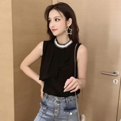 【韓國K.W.】韓時尚完美弧度荷葉邊無袖雪紡上衣-2色