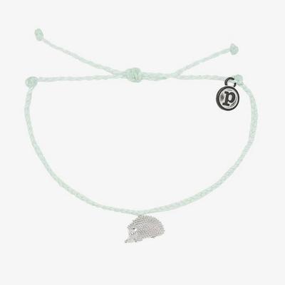Pura Vida 美國品牌 HEDGEHOG CHARM 保護刺蝟 慈善系列湖水綠色蠟線手鍊手環