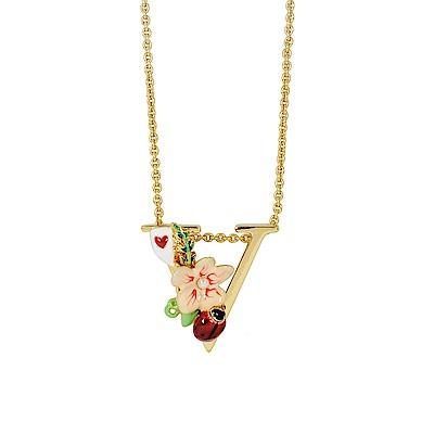 Les Nereides 花卉系列 花樣瓢蟲V英文字母鑲鑽項鍊