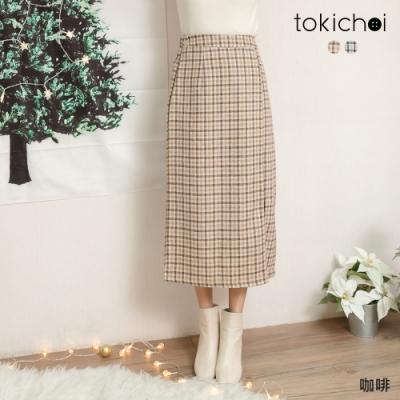 東京著衣 復古甜心撞色格紋腰鬆緊前開岔長裙