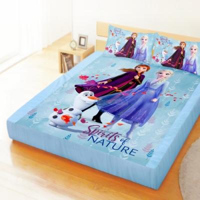 享夢城堡 雙人加大床包枕套6x6.2三件組-冰雪奇緣FROZEN 秋日之森-藍
