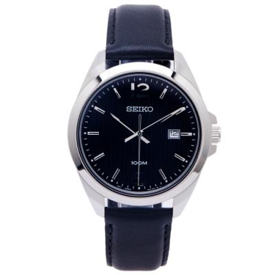 SEIKO 經典簡約款三針皮革錶帶款手錶 (SUR215P1)-黑面X黑色/42mm