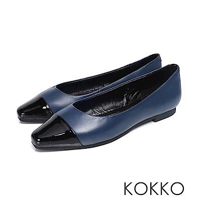 KOKKO - 似水流年拼接方頭平底鞋 - 深邃藍