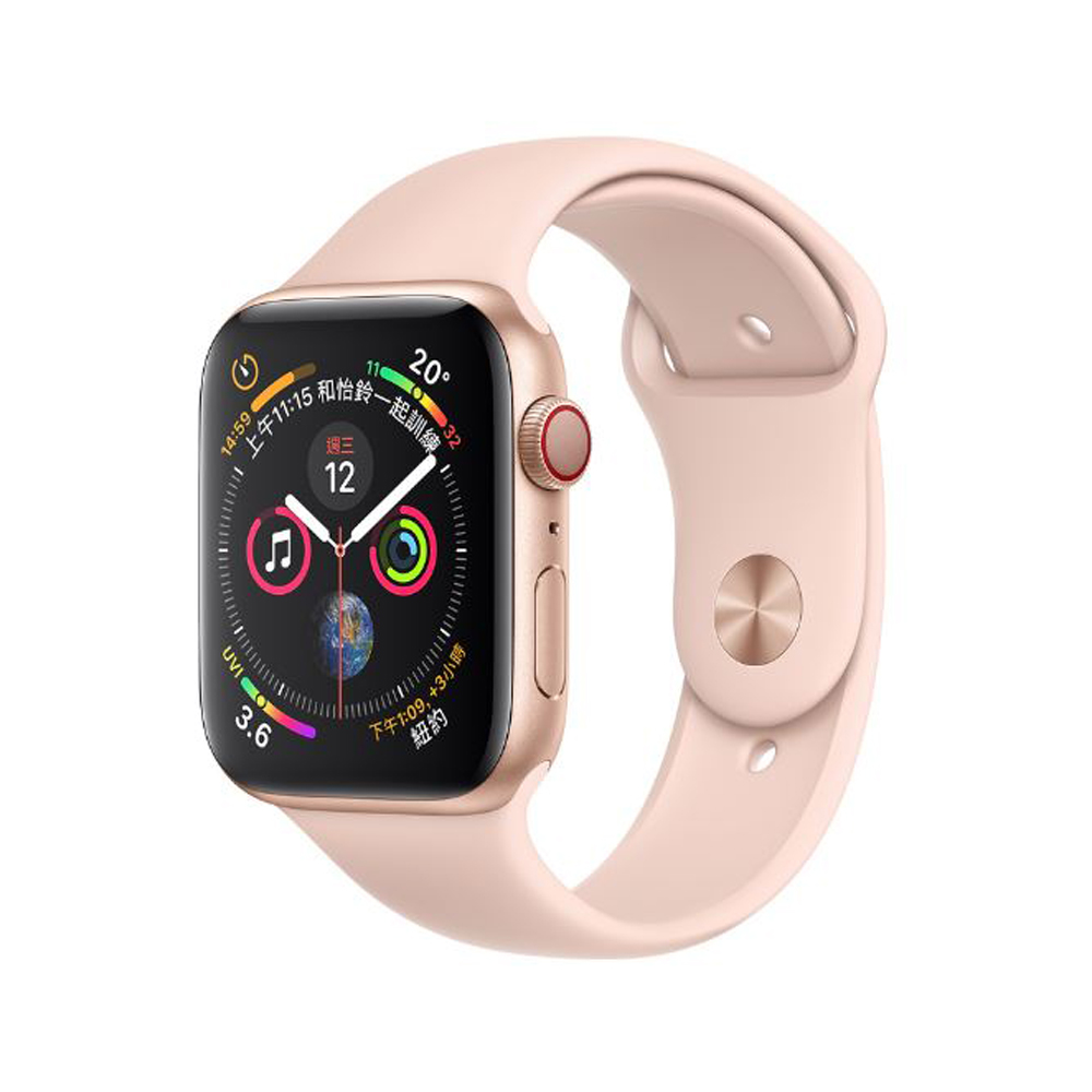 Apple Watch S4 44mm GPS+網路版金色鋁金屬錶殼搭配粉沙色運動型錶帶 @ Y!購物