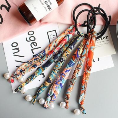 【Hera赫拉】可盤髮印花民族圖騰珍珠吊墜髮圈/髮束-3色