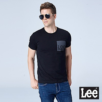 Lee LEE反光印花短袖圓領TEE/UR-黑色