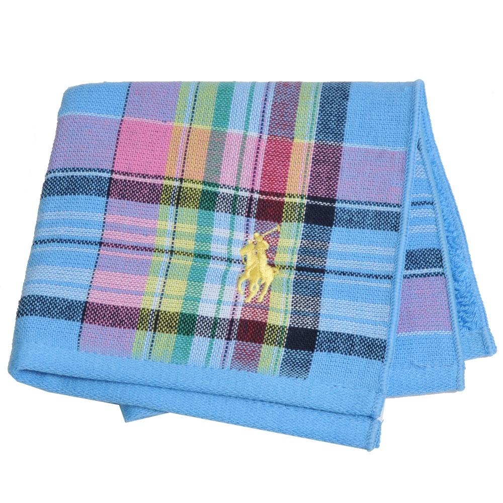 RALPH LAUREN POLO 刺繡LOGO格紋雙面用小方巾(天藍系)