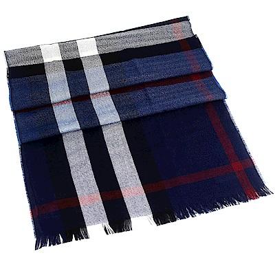 BURBERRY 靚藍色經典蘇格蘭紋喀什米爾羊毛混紡長型圍巾