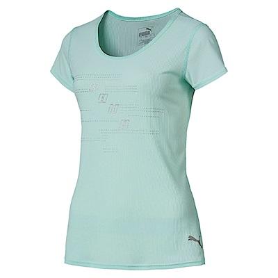 PUMA-女性慢跑系列經典Logo短袖T恤-輕水藍-歐規