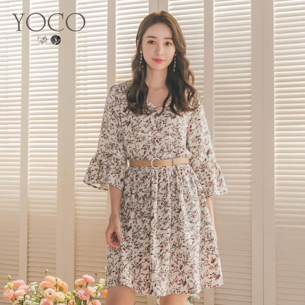 東京著衣-YOCO 森林系女孩V領喇叭袖寬鬆版洋裝-S.M.L