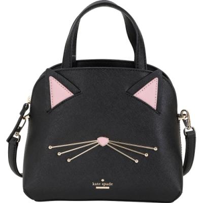 Kate Spade Cat s Lottie 防刮牛皮貓咪臉手提/肩背貝殼包(黑色)