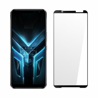 (贈支架)【SHOWHAN】全膠滿版 ASUS ROG Phone 3 (ZS661KS)2.5D鋼化日規玻璃保護貼-黑