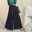 純色後腰鬆緊雙排釦打褶落地寬褲-OB大尺碼