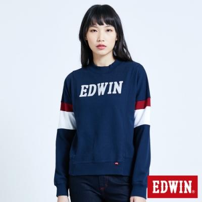 EDWIN 塗鴉系列 運動風配色厚長袖T恤-女-丈青
