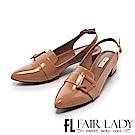 Fair Lady 有一種喜歡是早秋-金屬綴扣漆皮尖頭涼鞋 卡其