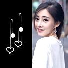 梨花HaNA  韓國925銀愛心鏤空水鑽珍珠耳線耳環