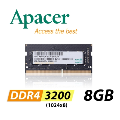 Apacer 8GB DDR4 3200 1024x8 筆記型記憶體