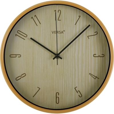 《VERSA》簡約木紋掛鐘(淺褐30cm)
