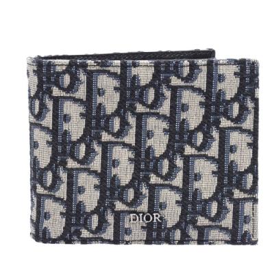 Dior Saddle系列經典OBLIQUE緹花布小牛皮襯裡摺疊短夾(藍色)