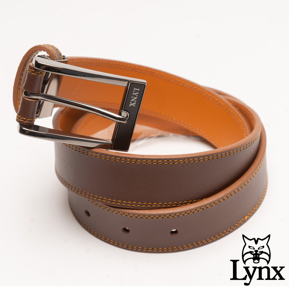 Lynx - 美國山貓雅致簡約真皮穿針式皮帶-棕色
