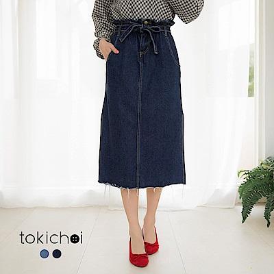 東京著衣-文青女孩附綁帶下襬開衩牛仔裙(共兩色)