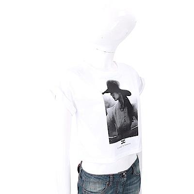 ELISABETTA FRANCHI 肖像圖印白色短版棉質T恤
