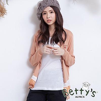 betty's貝蒂思 小貝羊刺繡拼接針織罩衫(淺桔)