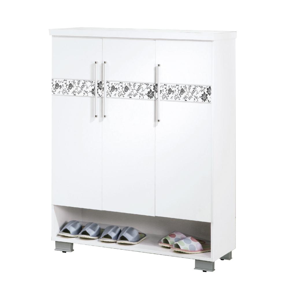 文創集 哥倫布現代白3尺三門鞋櫃/玄關櫃-90x40x109cm免組