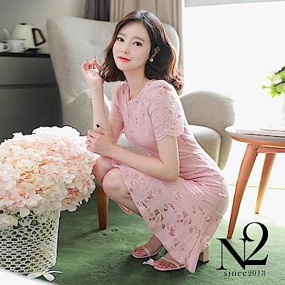 洋裝 正韓圓領蕾絲荷葉裙襬修身短袖洋裝(粉) N 2