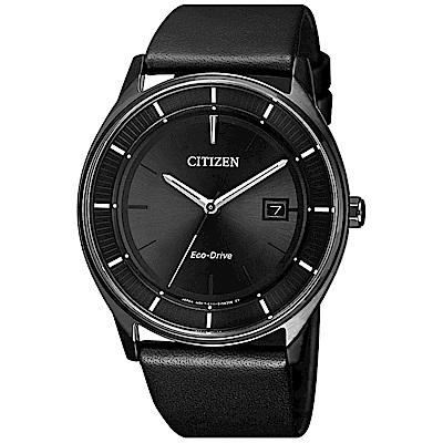 CITIZEN 星辰光動能極簡風尚真皮手錶BM7405-19E-黑/40mm