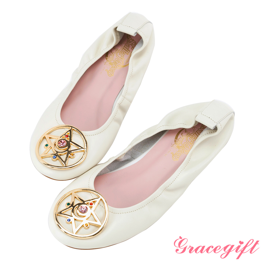 Grace gift-美少女戰士月光水晶全真皮娃娃鞋 米白