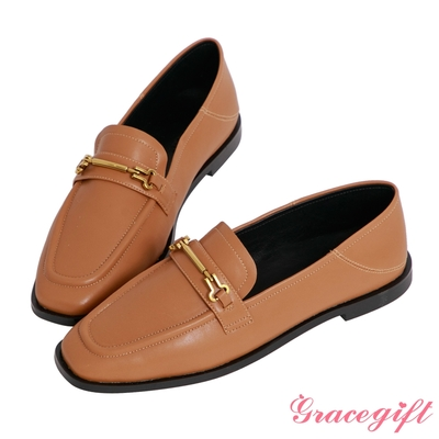 Grace gift-馬銜釦2way平底樂福鞋 棕