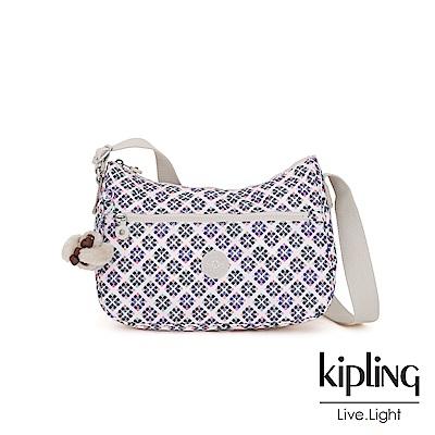 Kipling 復古花磚拉鍊側背包-SALLY