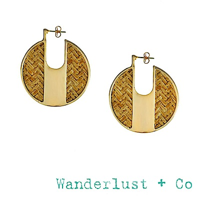 Wanderlust+Co 澳洲品牌 琥珀色編織圓牌耳環 金色耳環 AMBER
