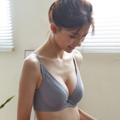 蕾黛絲-挺素面V版型 D-E罩杯內衣 灰色