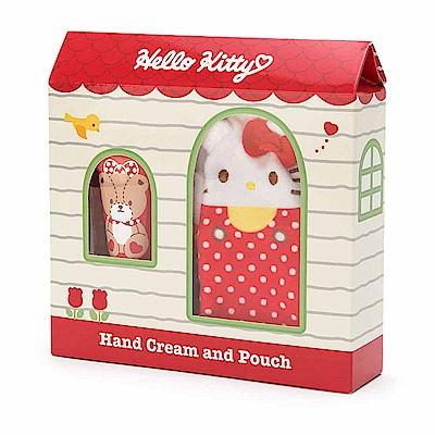 Sanrio HELLO KITTY香氛護手霜&玩偶造型收納袋禮盒組(蜜桃香)
