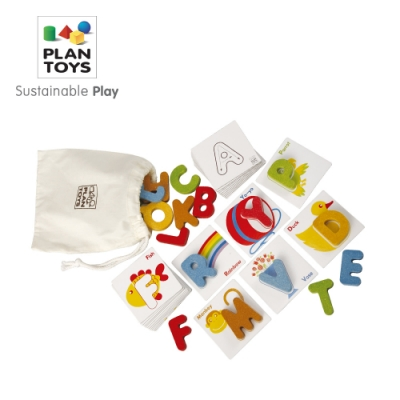 PLANTOYS 天然橡膠木益智玩具 學習認知系列-木質ABC字母筆順組