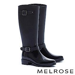 雨靴 MELROSE 經典時尚造型亮霧感拼接環繞繫帶雨靴-黑